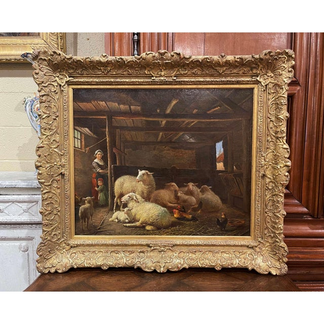 19th Century Dutch Sheep Painting in Carved Gilt Frame Signed Frans Lebret For Sale - Image 13 of 13