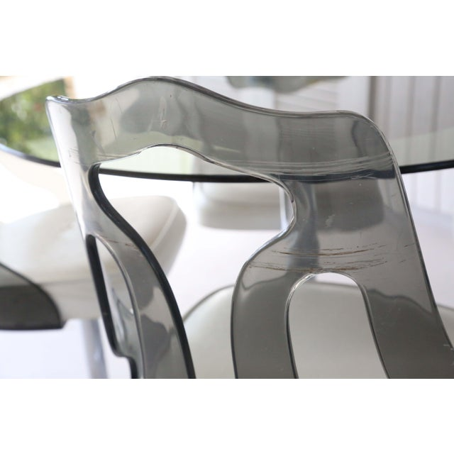 1970's Space Age Modern Smoked Lucite and Chrome Dining Set - 5 Pieces For Sale In Tampa - Image 6 of 13
