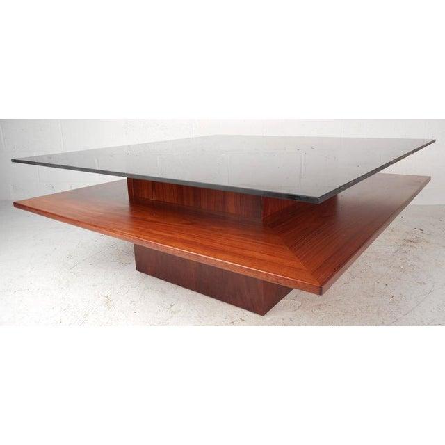 Mid-Century Teak & Glass Two-Tier Coffee Table