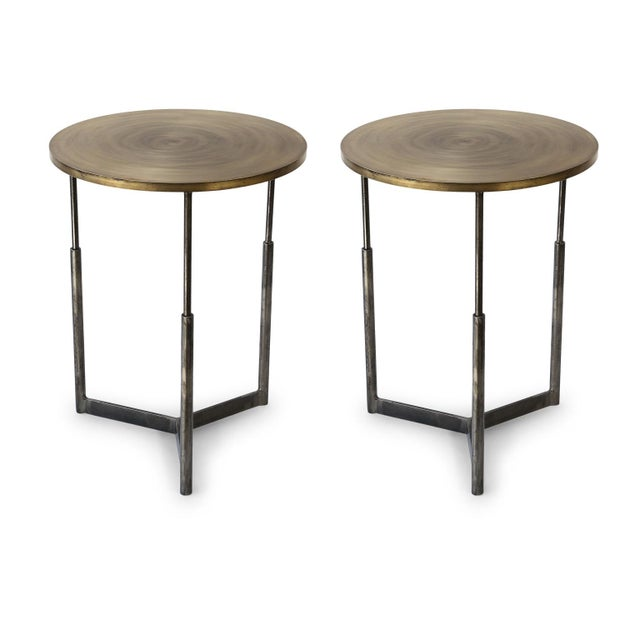 Two Custom Steel and Brass Side Tables For Sale - Image 11 of 11
