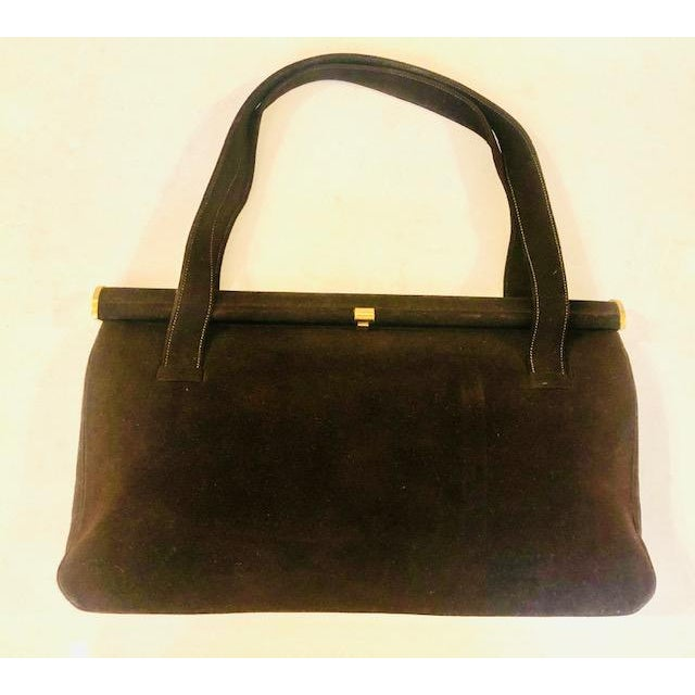 1940s Koret Chocolate Calfskin Suede Purse For Sale - Image 12 of 13