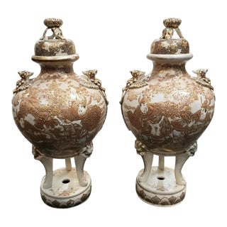Late 19th Century Japanese Satsuma Porcelain Gilded Temple Koro Incense Censers (Meiji Period) - a Pair For Sale