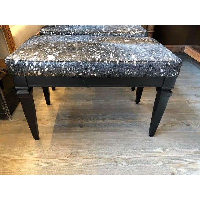 Wood Vintage Black Bench With Silver Splatter Hide Upholstery For Sale - Image 7 of 7