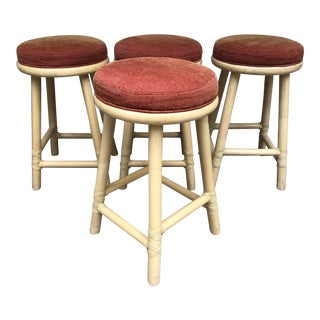 Vintage McGuire Counter Bar Stools - Set of 4 For Sale