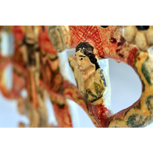 Red Vintage Mexican Tree of Life Pottery Aurelio Flores Candelabra Sculpture For Sale - Image 8 of 13