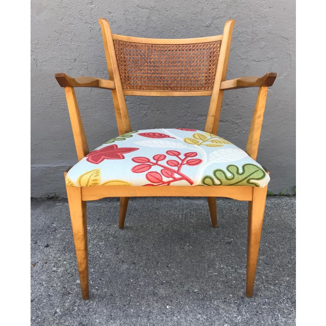 Graceful cane back arm chair executed in birch by Edmond Spence for Walpole Furniture circa 1959's