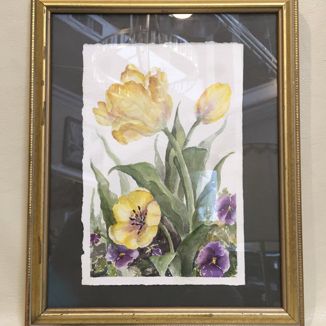 Floral Watercolor in Gold Frame For Sale In Sacramento - Image 6 of 6