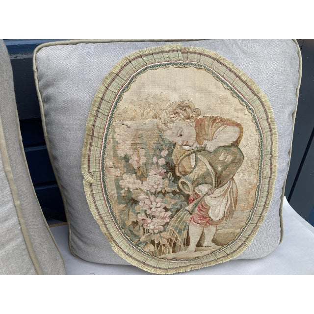 Taupe 19th Century Aubusson Tapestry Pillows - a Pair For Sale - Image 8 of 9