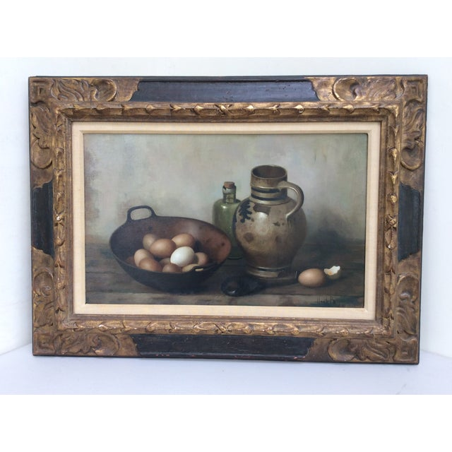 Beautiful mid 20th century still life painting by duchess artist Henk Bos in old world style custom frame. The painting...