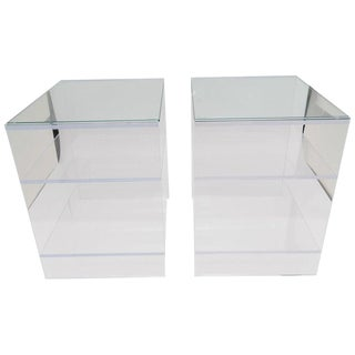 Custom Designed Lucite With Glass Top Night Stands / End Tables - a Pair For Sale