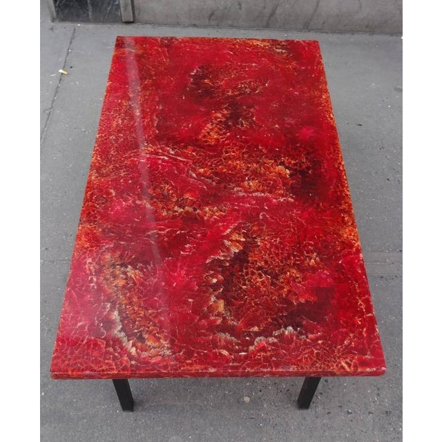 Pierre Giraudon Pierre Giraudon Style Mid-Century Cocktail Table in Crackled Resin in the Style France circa 1965 For Sale - Image 4 of 7