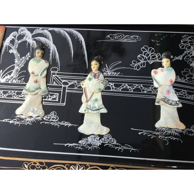 Mother-of-Pearl Vintage Asian Black Lacquer Cabinet With Mother Of Pearl For Sale - Image 7 of 10