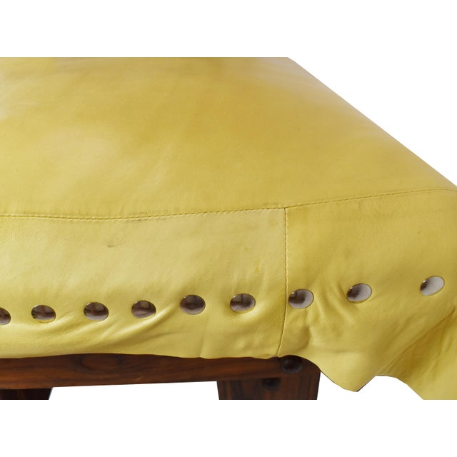 Yellow Handmade Wood Leather Footrest Stool Ottoman For Sale - Image 8 of 11