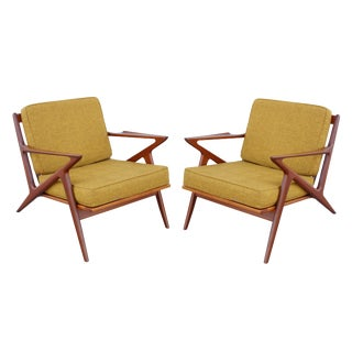 Poul Jensen for Selig Yellow Teak Mid Century ''Z'' Chairs - a Pair For Sale