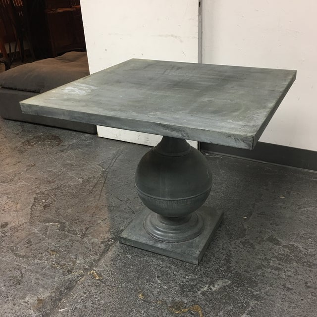 Zinc Square Top Ball Base Pedestal Table For Sale - Image 9 of 11