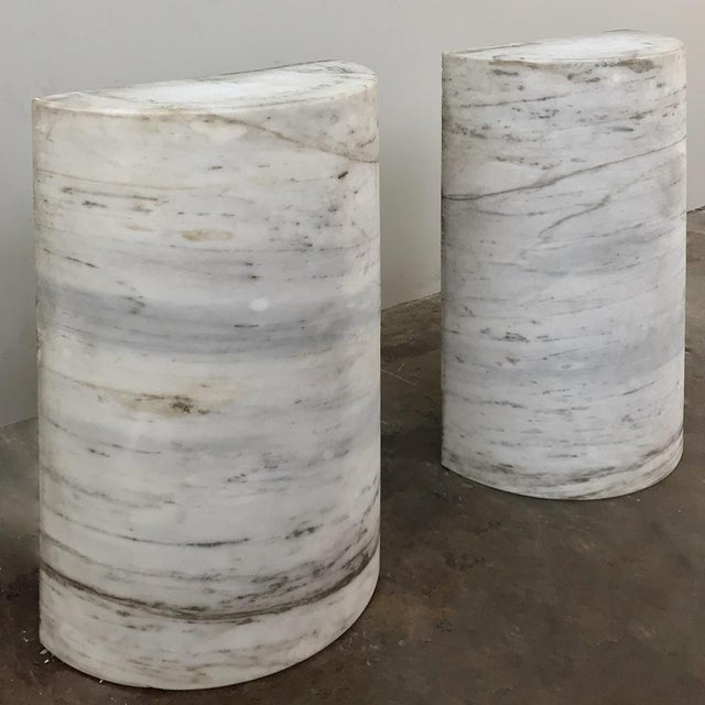 Mid 20th Century Pair Antique Solid Marble Half-Columns ~ Pedestals For Sale - Image 5 of 13
