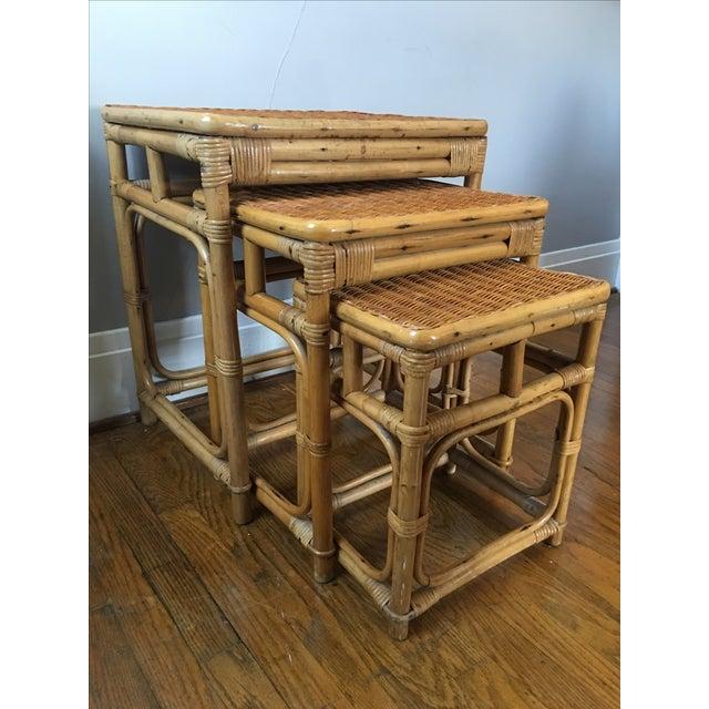 Vintage Rattan Nesting Tables - Set of 3 - Image 2 of 6