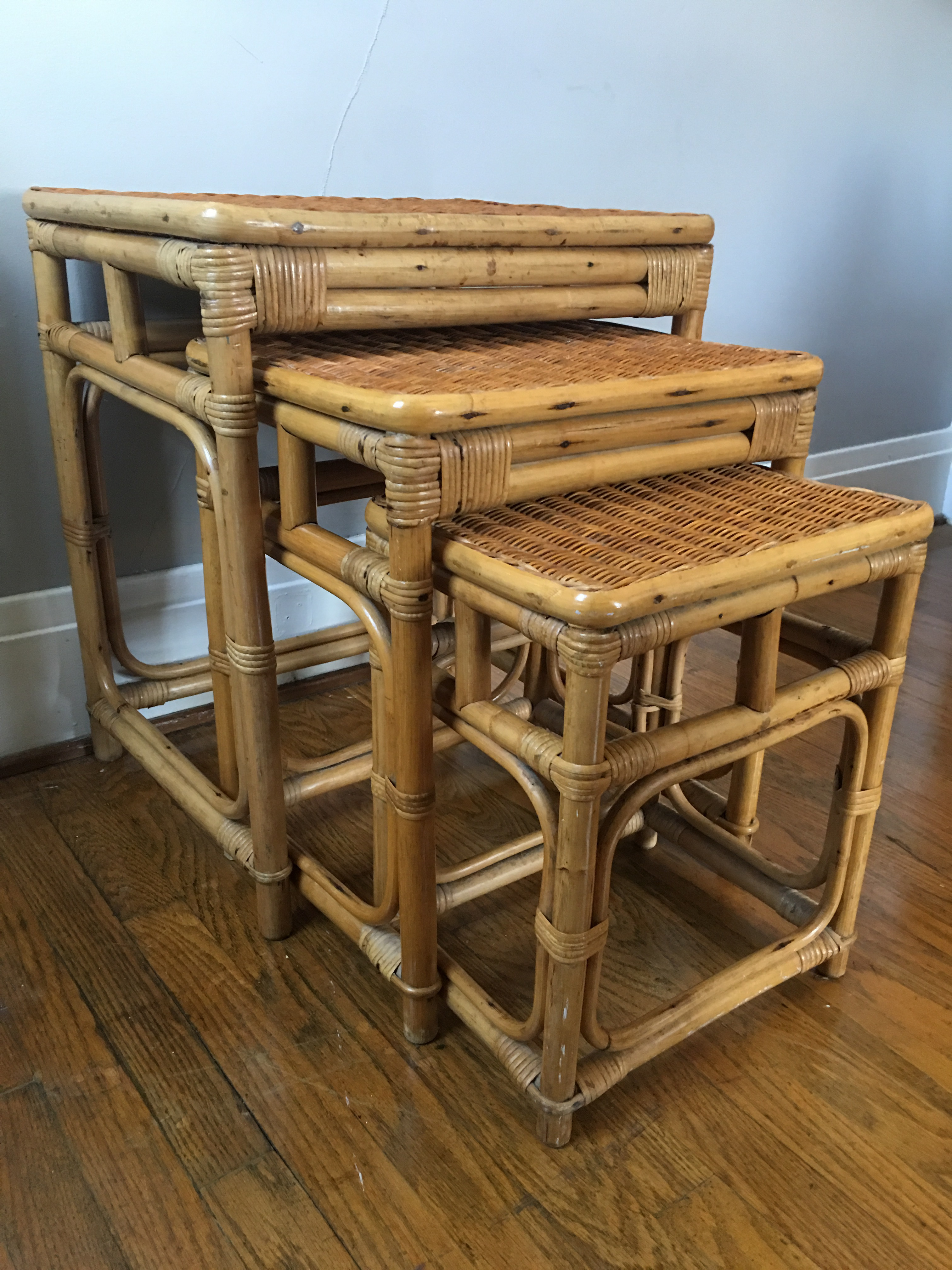Vintage Boho Chic Rattan Nesting Tables With Wicker Tops. Marked Made In  Hong Kong.