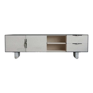 "Modern Swell Credenza in Steel, Alabaster & Bleached Maple by Ordinal Indicator - 96"" Long For Sale"
