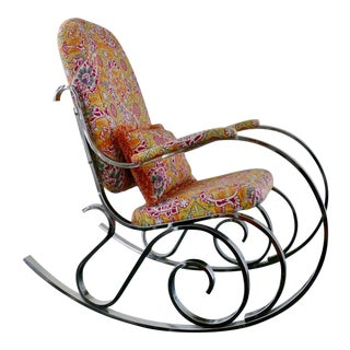 Vintage Mid-Century Modern Rocking Chair Upholstered in Brunschwig & Fils Fabric For Sale