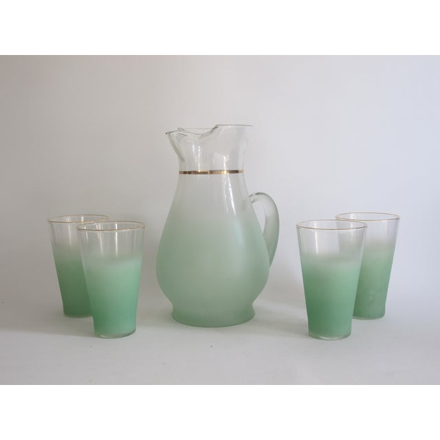 Green Glass Entertaining Pitcher & Glasses - Set of 5 - Image 2 of 6