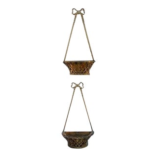 Pair of 1920's Bronze Hanging Planters For Sale
