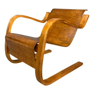1930s Vintage Alvar Aalto Scandinavian Finnish Cantilevered Lounge Arm Chair For Sale