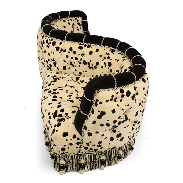 Victorian French Victorian Velvet Dalmatian Tete-a-tete Sofa For Sale - Image 3 of 3