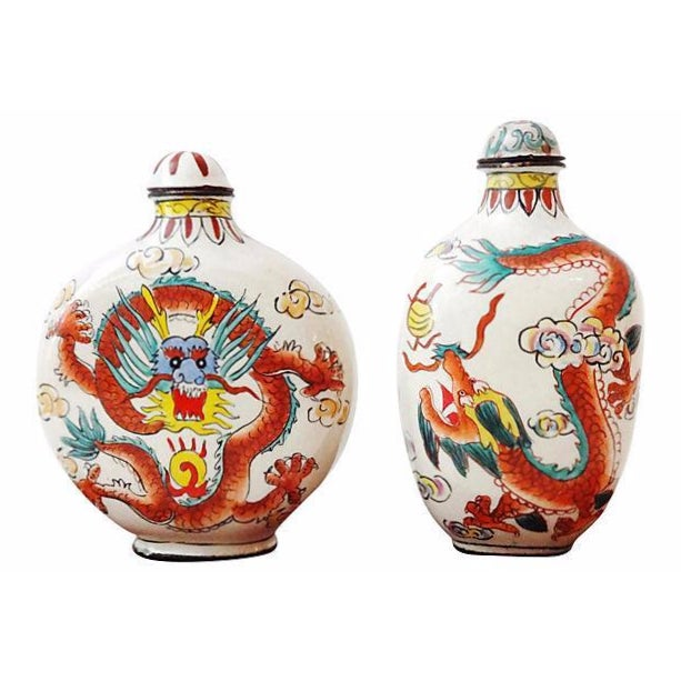 Chinese Dragon Snuff Bottles- A Pair - Image 1 of 7