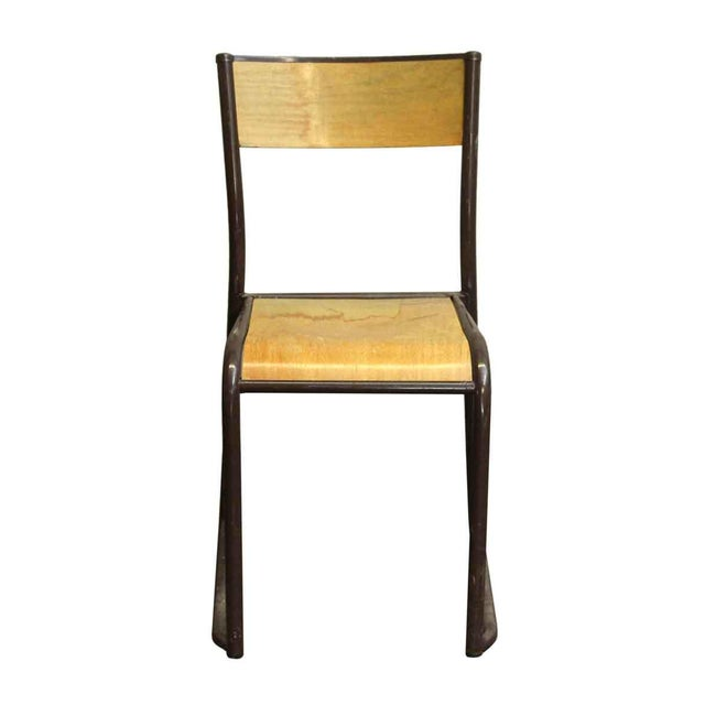 Imported French brown steel & light wood tone seat and back school chair. Priced each. This listing is for a single unit...