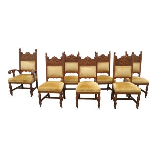 Victorian Late 1800s Solid Oak Carved Faces Set of Seven Dining Room Chairs 2176 For Sale