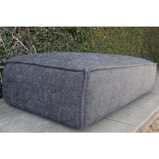 Modern Modern Upholstered Gray Ottoman For Sale - Image 3 of 5