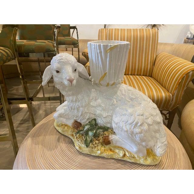 Hollywood Regency Large Vintage Ceramic Italian Faux Bamboo Ceramic Lamp Sheep Planter Pot For Sale - Image 3 of 13