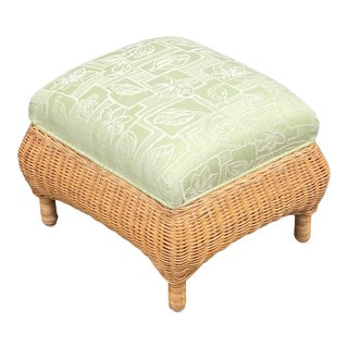 Vintage Natural Wicker Upholstered Footstool For Sale