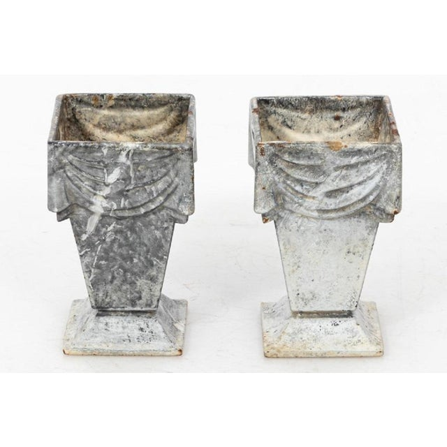 1920s Neoclassical Style Cast Iron Vases With White Enamel Finish For Sale - Image 5 of 7