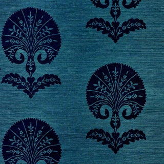 Schumacher Ottoman Flower Sisal Wallpaper in Peacock For Sale