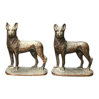 Antique Cast Iron Dog Bookends For Sale