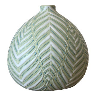 Hand-Painted Fern Design Vase
