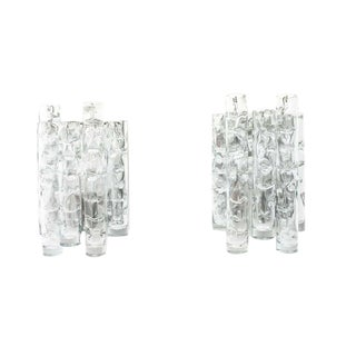 Pair of Nice Glass Wall Sconces by Doria, Germany, 1960s For Sale