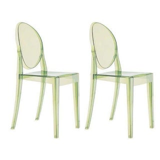 Green Philippe Starck Ghost Chairs - A Pair