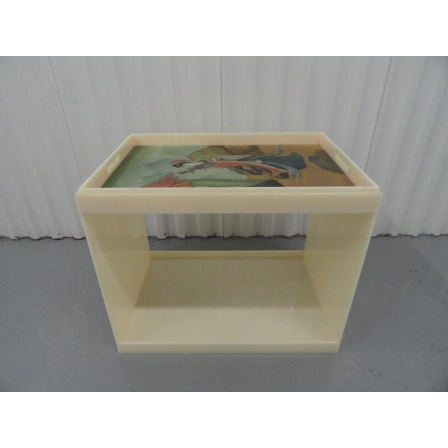 Antique White Custom Acrylic Table With Tray Top With Reverse Glass Painted Art For Sale - Image 8 of 8