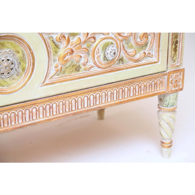 Painted Venetian Style Commode With Marble Top For Sale In West Palm - Image 6 of 12