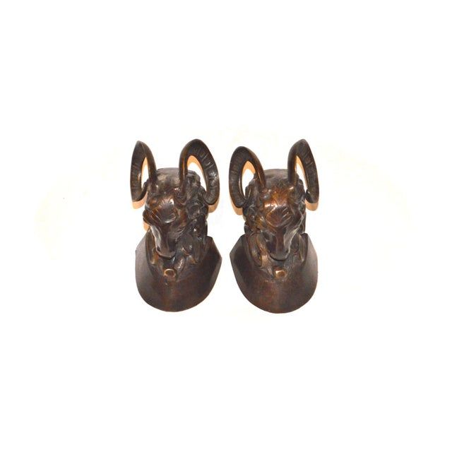 Vintage Bronze Ram Bookends - A Pair - Image 3 of 11
