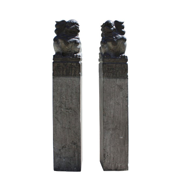 Chinese Pair Black Gray Stone Fengshui Foo Dogs Tall Slim Pole Statues For Sale In San Francisco - Image 6 of 8