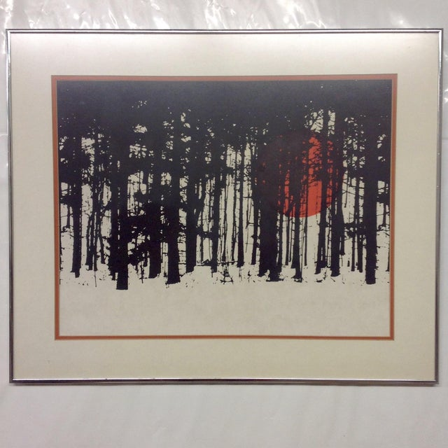 Monochrome Forest Screen Print with Red Sun - Image 2 of 6
