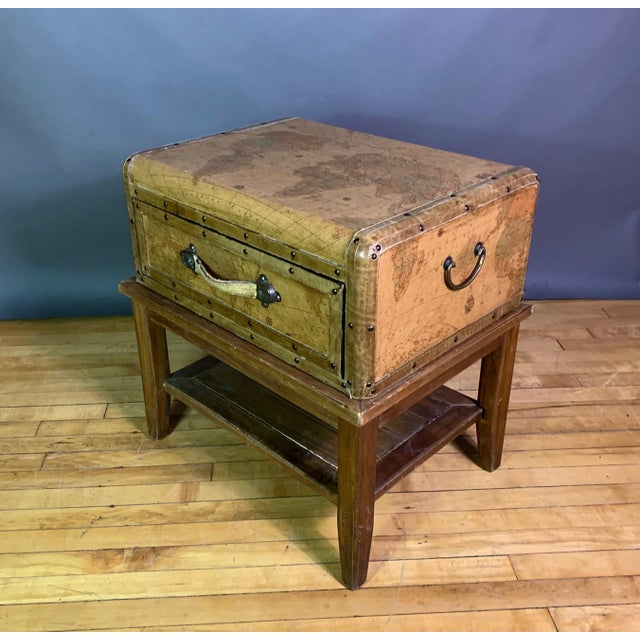 Leather Travel Suitcase Storage Box on Frame, 20th Century For Sale - Image 12 of 12