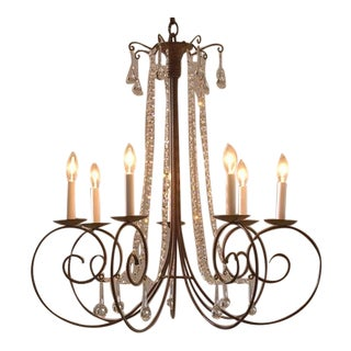 7 Candle Crystal Scroll Chandelier by Studio Steel For Sale