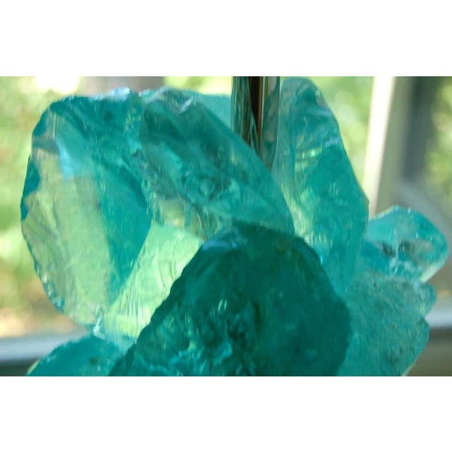 Modern Glass Rock Table Lamps by Swank Lighting Aqua For Sale - Image 9 of 9