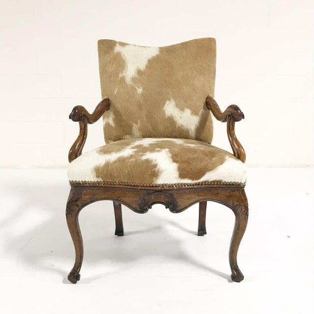 1770s Antique Italian Walnut Armchair Restored in Brazilian Cowhide - Image 3 of 10