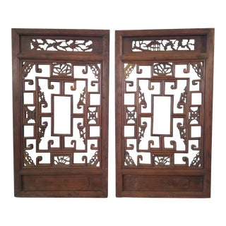 Antique Chinese Shanghai Wood Carved Window Panels - a Pair